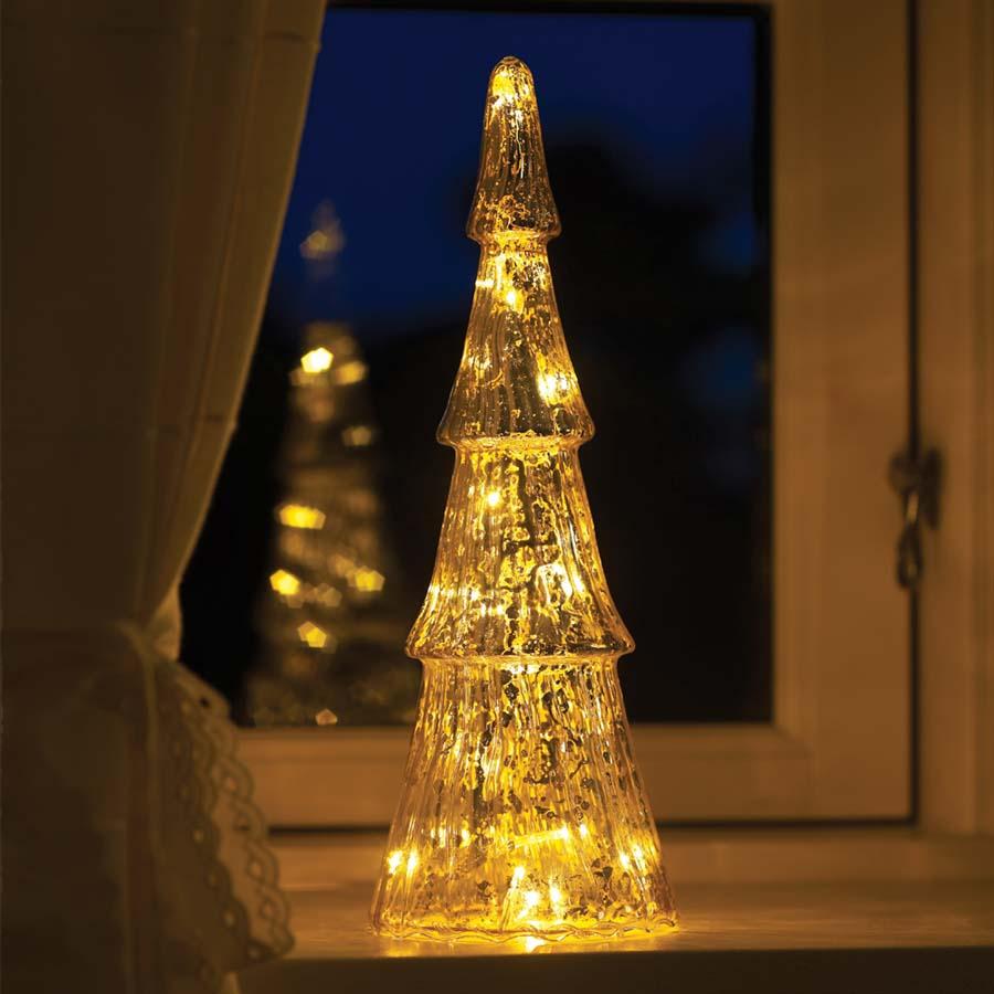 Sirius - Fie Glas Træ med 15 sølvfarvede LED